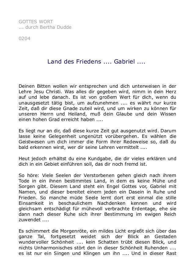 GOTTES WORT ... durch Bertha Dudde 0204 Land des Friedens .... Gabriel .... Deinen Bitten wollen wir entsprechen und dich ...