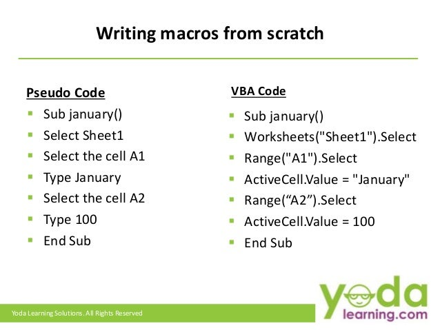 how to write a macro Vba - excel macros advertisements previous page next page  in this chapter, you will learn how to write a simple macro in a step by step manner step 1 − first.