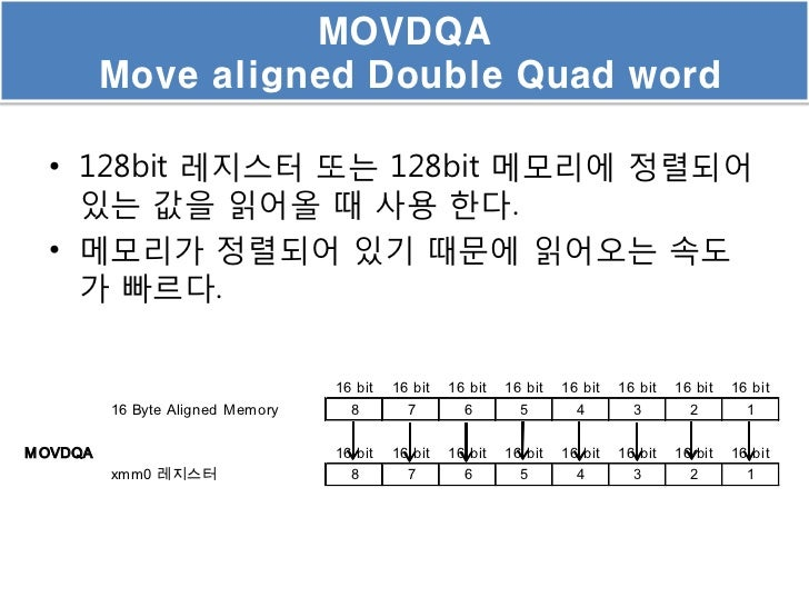 MOVDQA          Move aligned Double Quad word  • 128bit 레지스터 또는 128bit 메모리에 정렬되어    있는 값을 읽어올 때 사용 한다.  • 메모리가 정렬되어 있기 때문에...