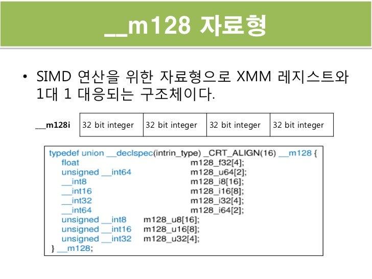 __m128 자료형• SIMD 연산을 위한 자료형으로 XMM 레지스트와  1대 1 대응되는 구조체이다. ___m128i   32 bit integer   32 bit integer   32 bit integer   32...