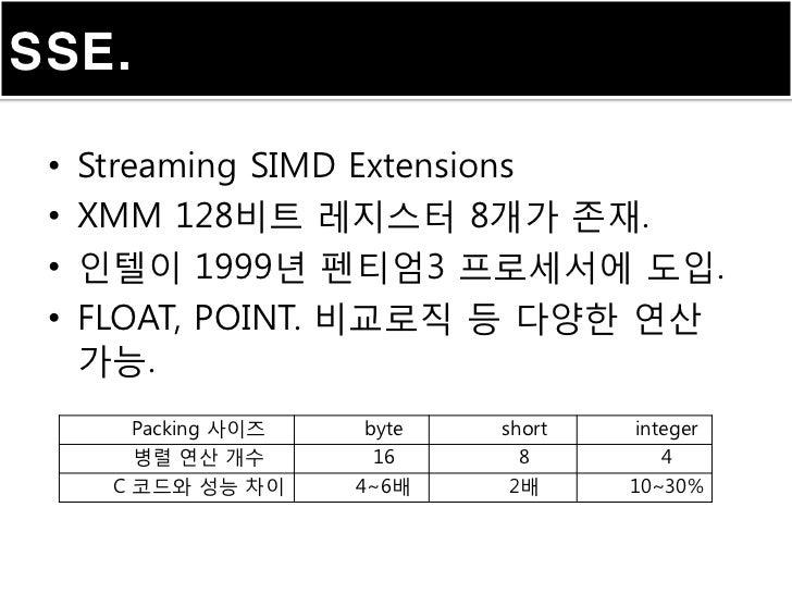 SSE. •   Streaming SIMD Extensions •   XMM 128비트 레지스터 8개가 존재. •   인텔이 1999년 펜티엄3 프로세서에 도입. •   FLOAT, POINT. 비교로직 등 다양한 연산...