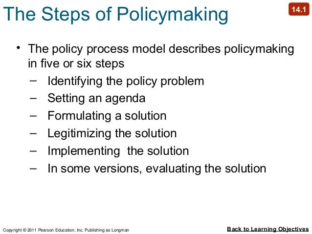 who is responsible for determining solutions or setting the public policy agenda If a group were planning what to do next saturday, they would probably first identify several alternative activities likewise, in order to develop a public policy solution for your social problem, it is helpful to consider some alternatives.