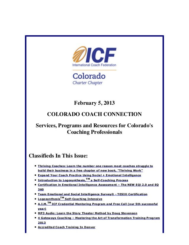 February 5, 2013            COLORADO COACH CONNECTION   Services, Programs and Resources for Colorados                Coac...