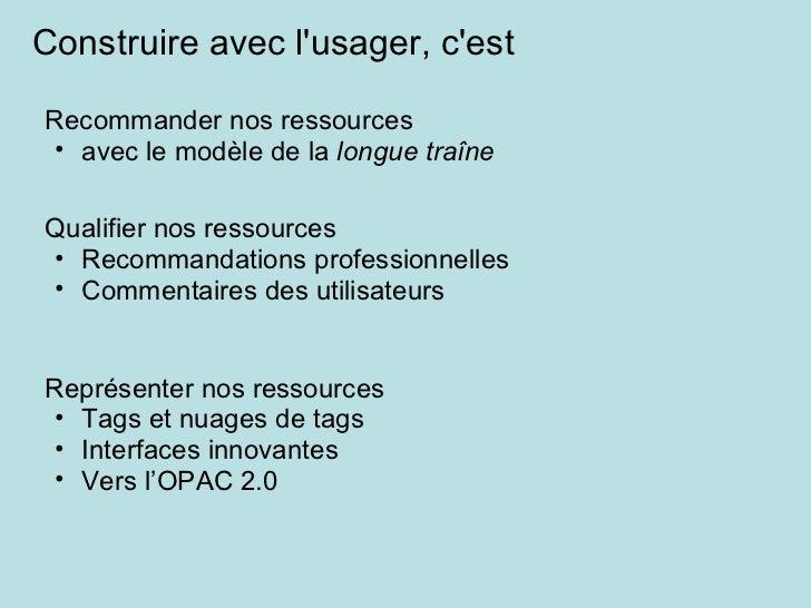 <ul><li>Recommander nos ressources </li></ul><ul><ul><li>avec le modèle de la  longue traîne   </li></ul></ul>Construire a...