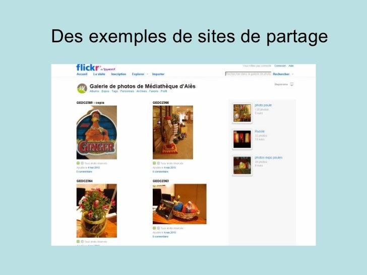 Des exemples de sites de partage