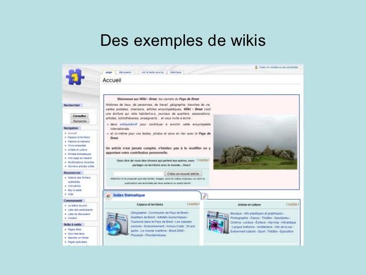 Des exemples de wikis
