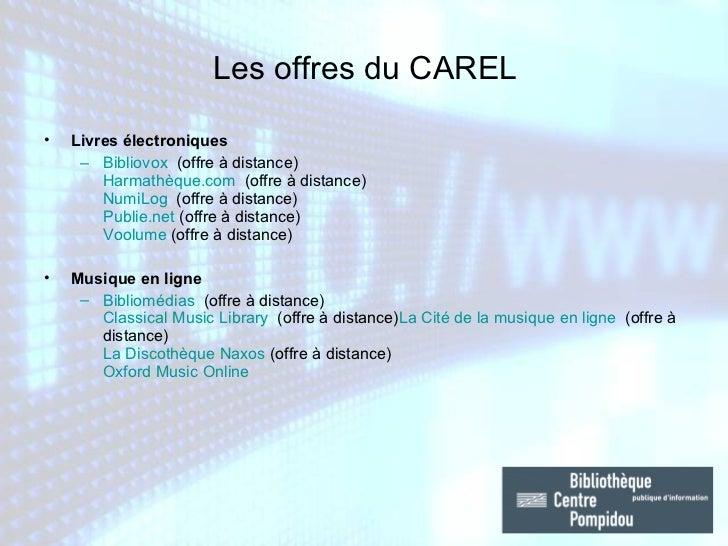 <ul><li>Livres électroniques </li></ul><ul><ul><li>Bibliovox  (offre à distance) Harmathèque.com  (offre à distance) Num...