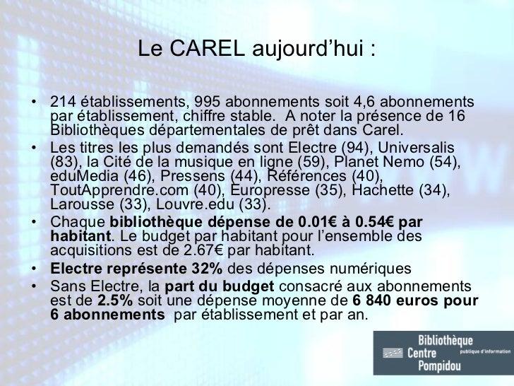 Le CAREL aujourd'hui : <ul><li>214 établissements, 995 abonnements soit 4,6 abonnements par établissement, chiffre stable....