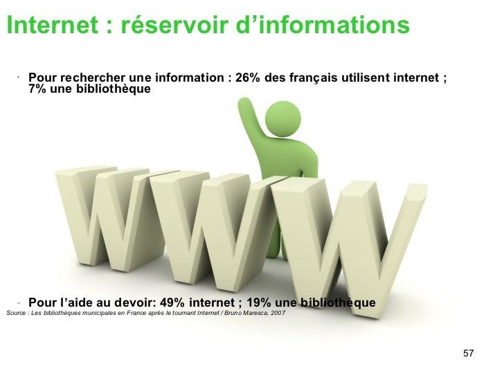 <ul><li>Internet : réservoir d'informations </li></ul><ul><ul><li>Pour rechercher une information : 26% des français utili...