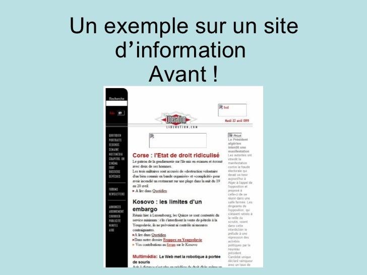 Un exemple sur un site d ' information  Avant !