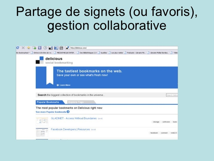 Partage de signets (ou favoris), gestion collaborative 
