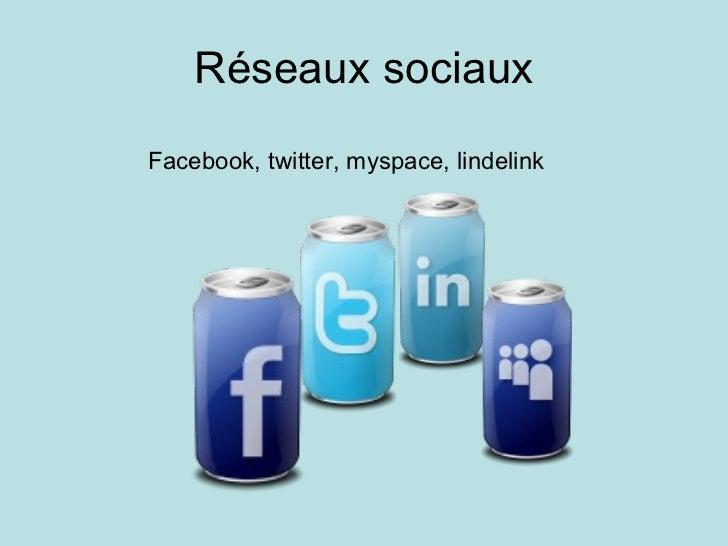Réseaux sociaux Facebook, twitter, myspace, lindelink