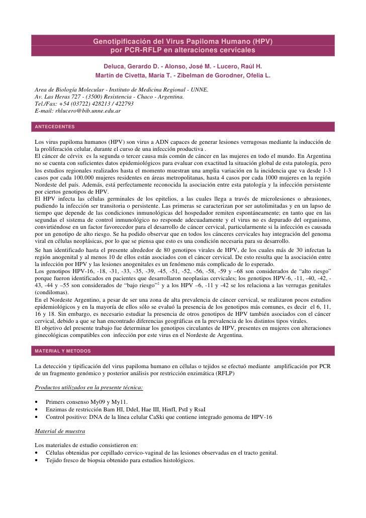 Genotipificación del Virus Papiloma Humano (HPV)                            por PCR-RFLP en alteraciones cervicales       ...