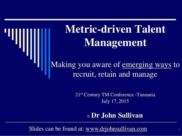 Metric Driven Talent Management