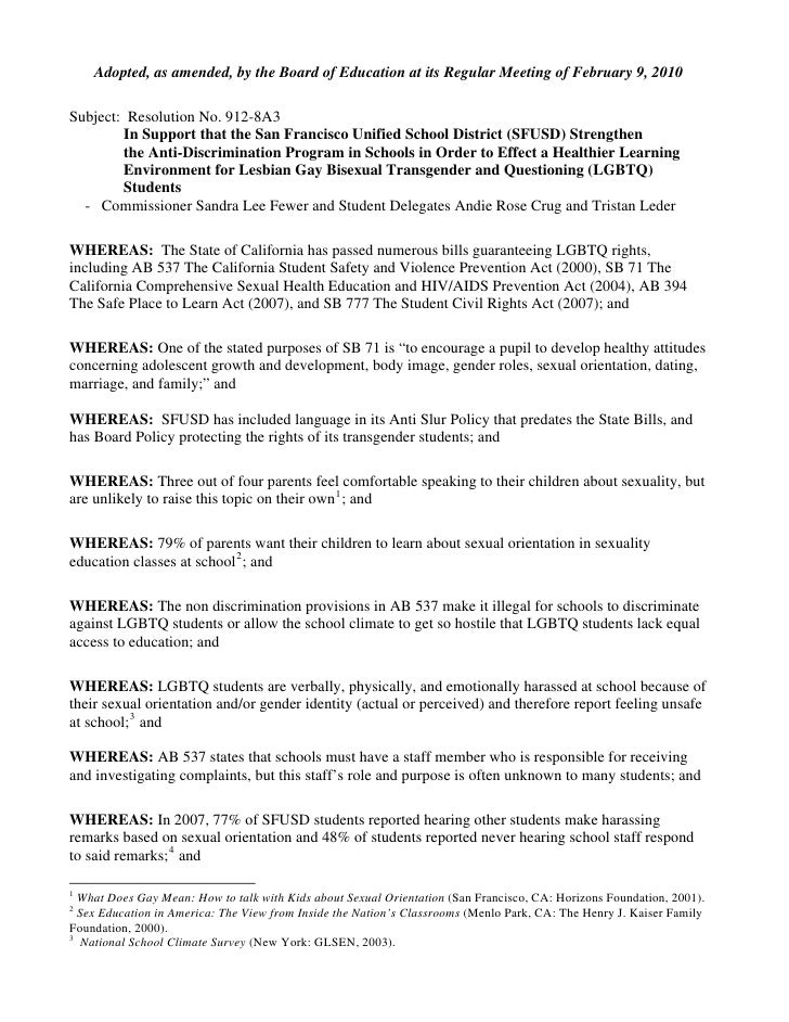Adopted, as amended, by the Board of Education at its Regular Meeting of February 9, 2010  Subject: Resolution No. 912-8A3...