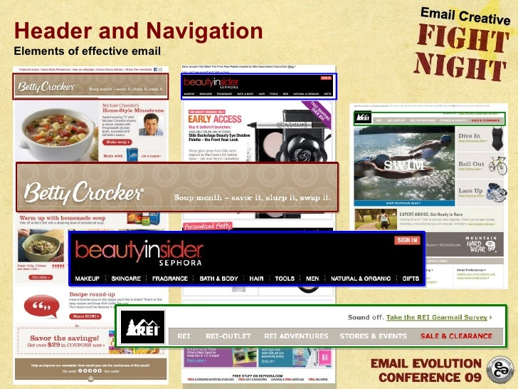 Header and Navigation Elements of effective email