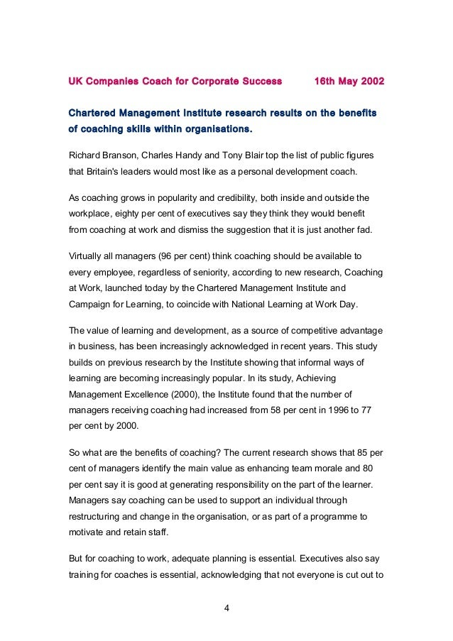 UK Companies Coach for Corporate Success 16th May 2002  Chartered Management Institute research results on the benefits  o...