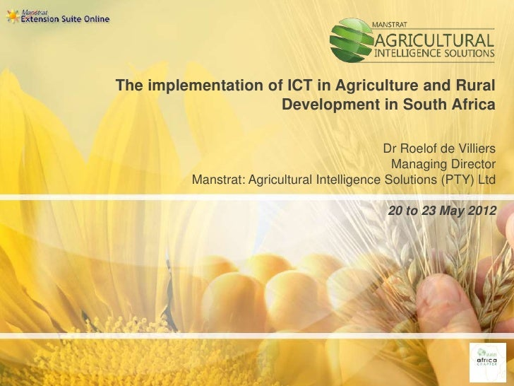 The implementation of ICT in Agriculture and Rural                     Development in South Africa                        ...