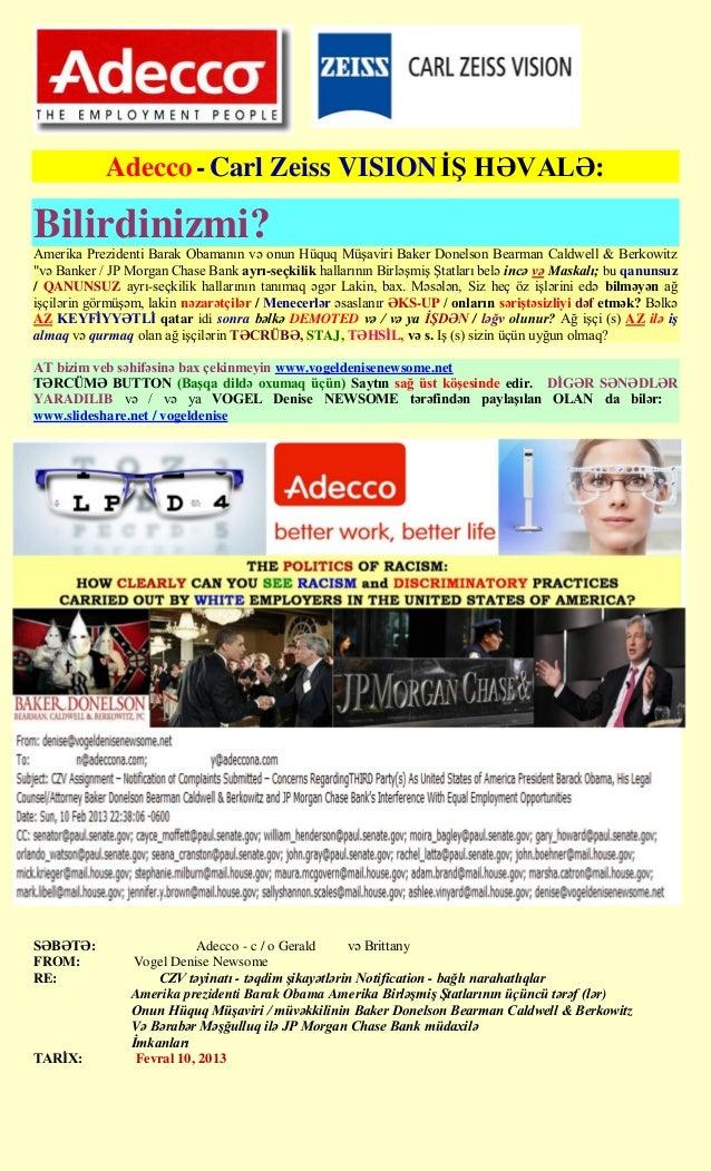 Adecco - Carl Zeiss VISION Ġġ HƏVALƏ:Bilirdinizmi?Amerika Prezidenti Barak Obamanın və onun Hüquq Müşaviri Baker Donelson ...