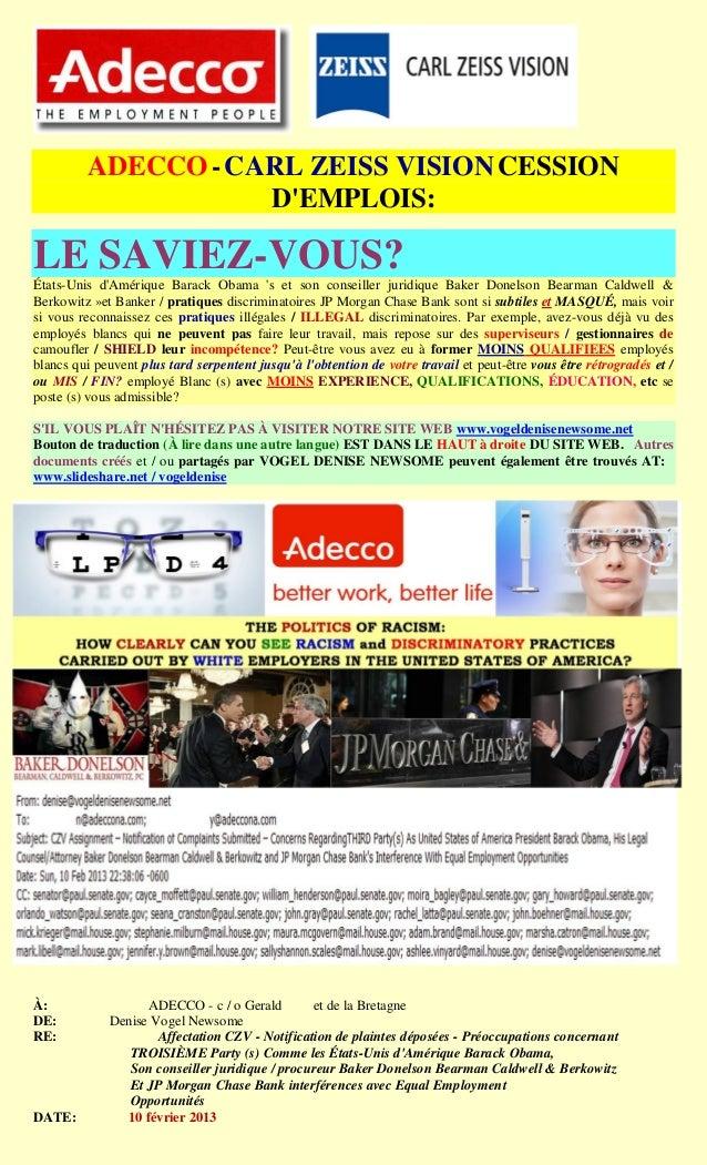 ADECCO - CARL ZEISS VISION CESSION                    DEMPLOIS:LE SAVIEZ-VOUS?États-Unis dAmérique Barack Obama s et son c...
