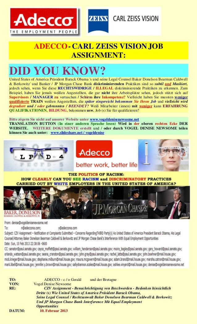 ADECCO - CARL ZEISS VISION JOB                       ASSIGNMENT:DID YOU KNOW?United States of America Präsident Barack Oba...