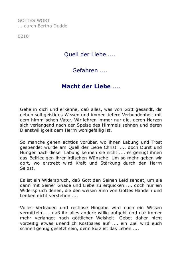 GOTTES WORT ... durch Bertha Dudde 0210 Quell der Liebe .... Gefahren .... Macht der Liebe .... Gehe in dich und erkenne, ...