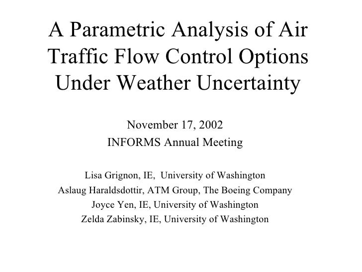 A Parametric Analysis of Air Traffic Flow Control Options Under Weather Uncertainty November 17, 2002 INFORMS Annual Meeti...