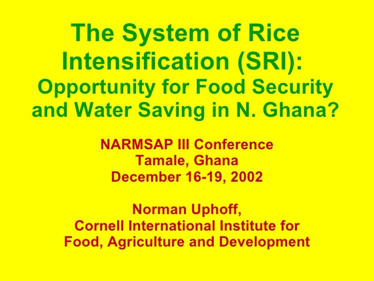 The System of Rice Intensification (SRI):   Opportunity for Food Security and Water Saving in N. Ghana? NARMSAP III Confer...