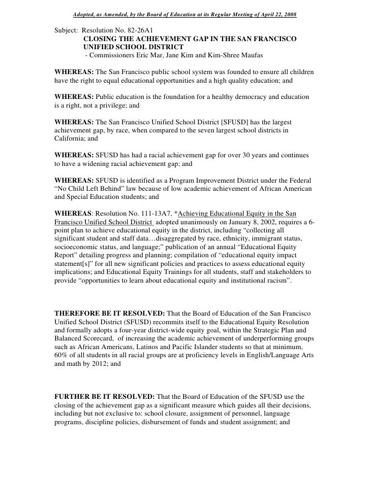 Adopted, as Amended, by the Board of Education at its Regular Meeting of April 22, 2008  Subject: Resolution No. 82-26A1  ...