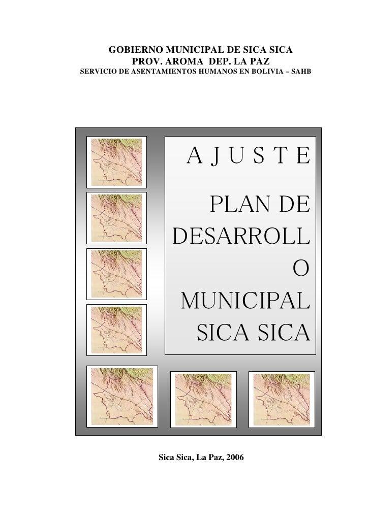 GOBIERNO MUNICIPAL DE SICA SICA         PROV. AROMA DEP. LA PAZSERVICIO DE ASENTAMIENTOS HUMANOS EN BOLIVIA – SAHB        ...