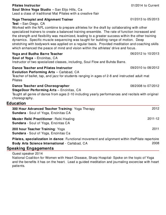pilates instructor resume - Pilates Instructor Resume
