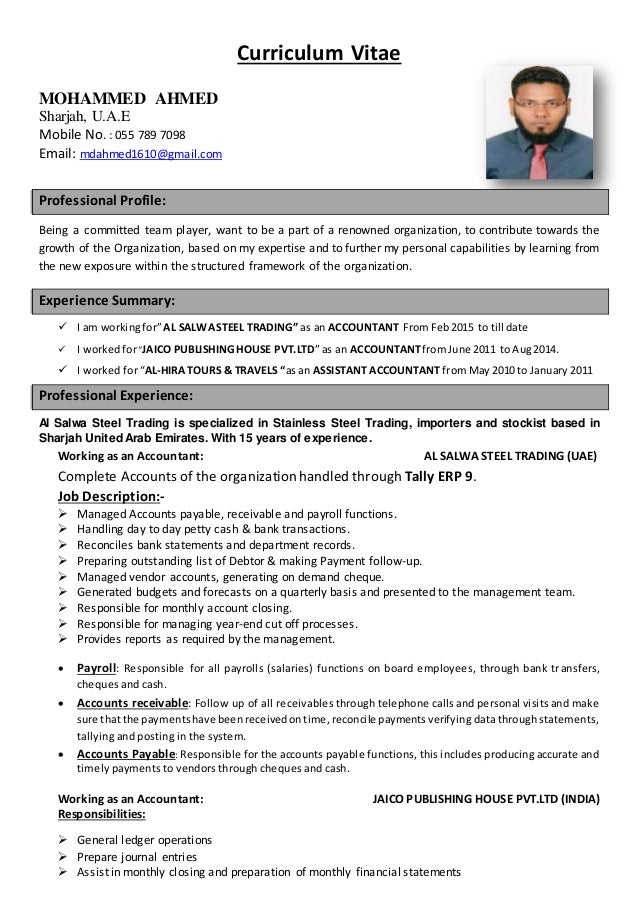 Accountant Curriculum Vitae