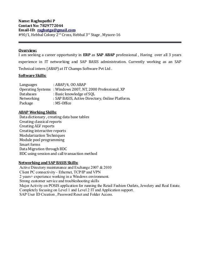 best sap abap resume 3 years experience gallery simple resume