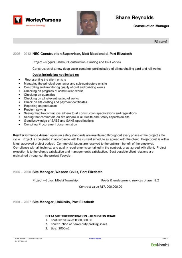 ... 3. Shane Reynolds Construction Manager Résumé ...