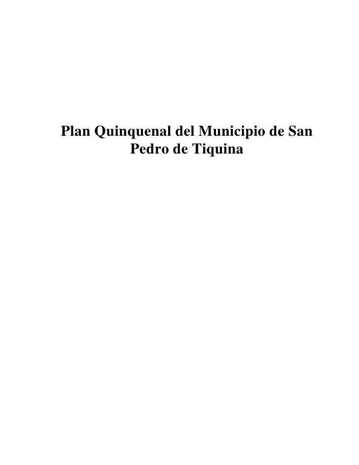 Plan Quinquenal del Municipio de San         Pedro de Tiquina