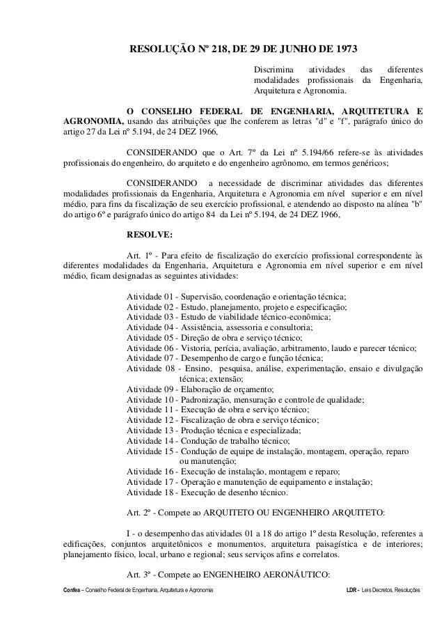 Confea – Conselho Federal de Engenharia, Arquitetura e Agronomia LDR - Leis Decretos, Resoluções RESOLUÇÃO Nº 218, DE 29 D...