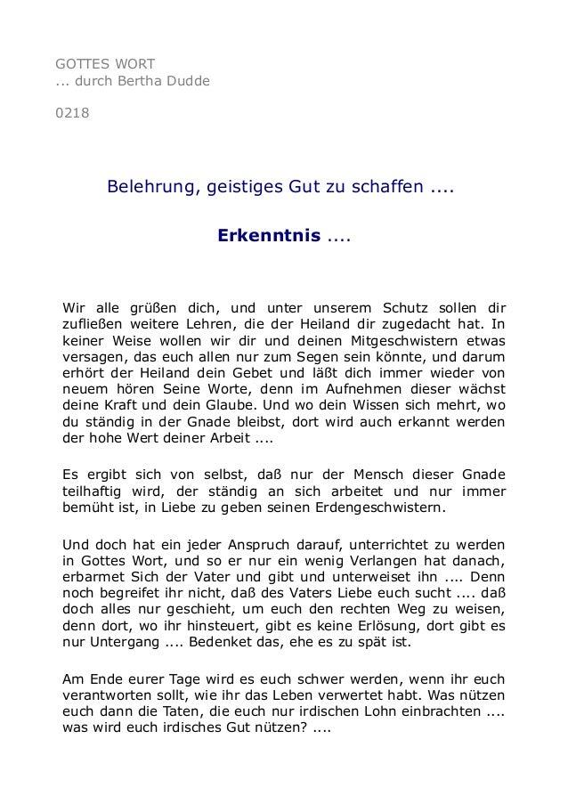 GOTTES WORT ... durch Bertha Dudde 0218 Belehrung, geistiges Gut zu schaffen .... Erkenntnis .... Wir alle grüßen dich, un...