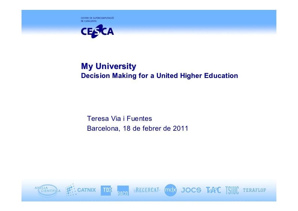 My UniversityDecision Making for a United Higher Education Teresa Via i Fuentes Barcelona, 18 de febrer de 2011