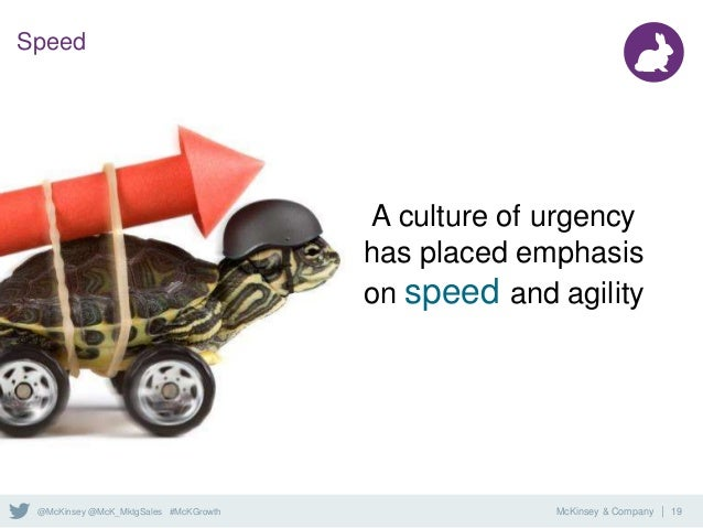 McKinsey & Company | 19@McKinsey @McK_MktgSales #McKGrowth Speed A culture of urgency has placed emphasis on speed and agi...