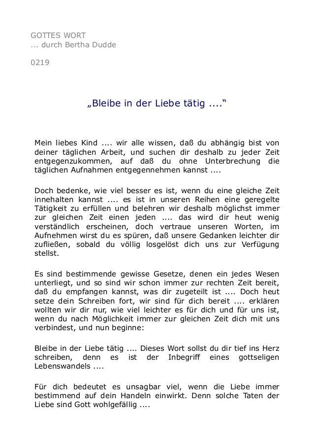 """GOTTES WORT ... durch Bertha Dudde 0219 """"Bleibe in der Liebe tätig ...."""" Mein liebes Kind .... wir alle wissen, daß du abh..."""