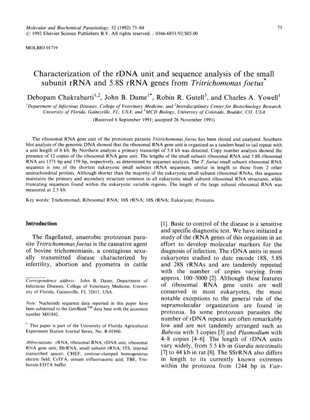 Molecular and Biochemical Parasitology, 52 (1992) 75-84 75© 1992 Elsevier Science Publishers B.V. All rights reserved. / 0...