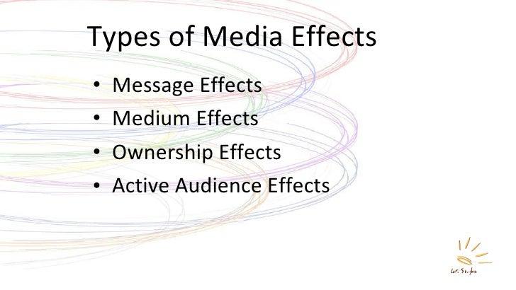 Types of Media Effects <ul><li>Message Effects </li></ul><ul><li>Medium Effects </li></ul><ul><li>Ownership Effects </li><...