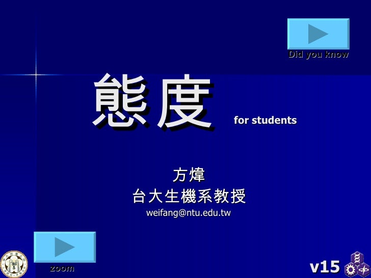 態度 for students 方煒 台大生機系教授 [email_address] v15 zoom Did you know