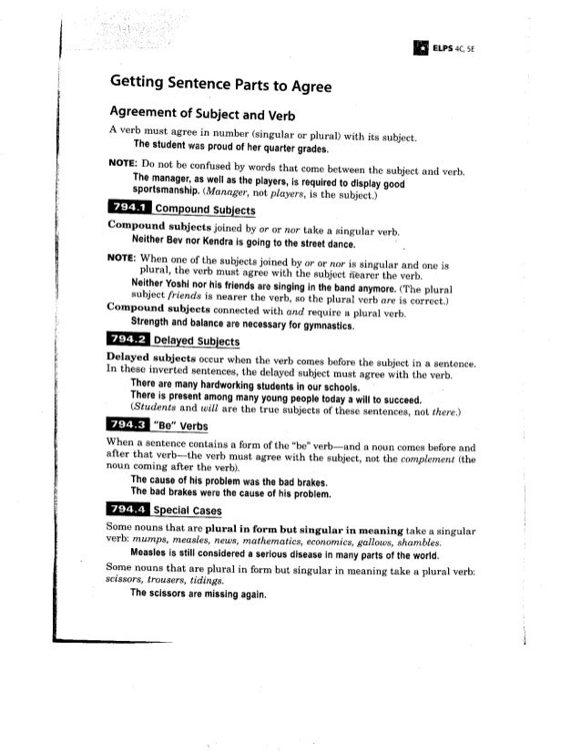 Subject/Verb Agreement Notes