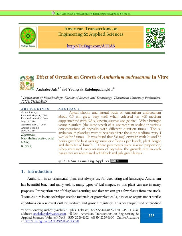 American Transactions on Engineering & Applied Sciences http://TuEngr.com/ATEAS Effect of Oryzalin on Growth of Anthurium ...