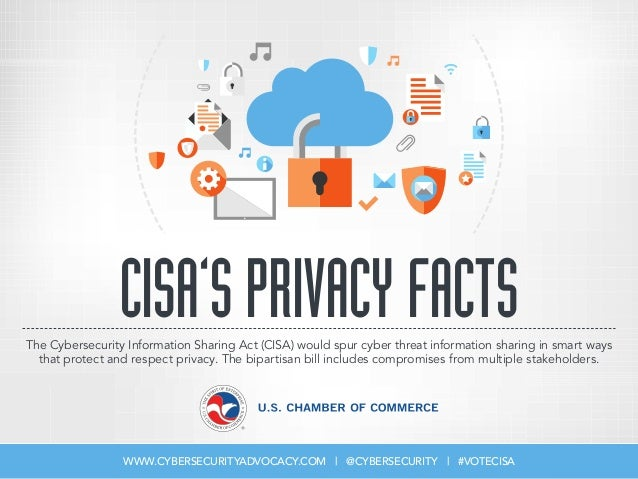 CISA'SPRIVACYFACTS WWW.CYBERSECURITYADVOCACY.COM | @CYBERSECURITY | #VOTECISA The Cybersecurity Information Sharing Act (C...