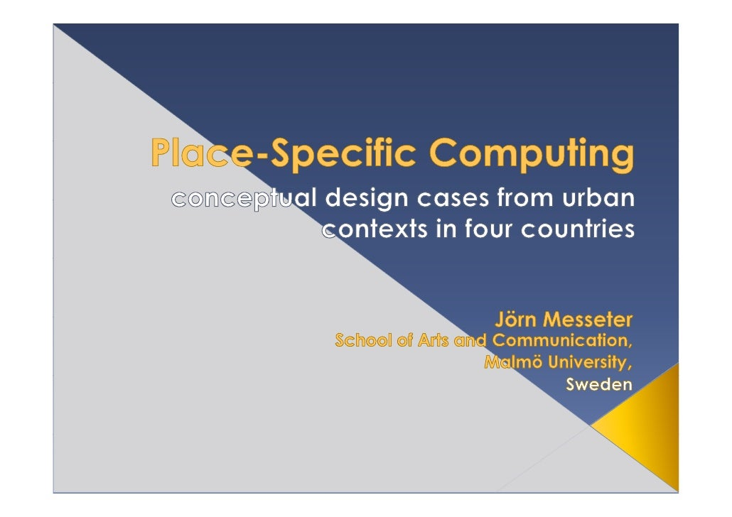 Place-specific computing is suggested as a new genre that focuses on how we can shape interactions mediated by digital tif...
