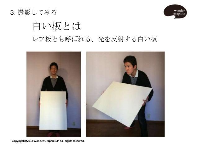 3. 撮影してみる  白い板とは レフ板とも呼ばれる、光を反射する白い板  Copyright@2014 Wonder Graphics .Inc all rights reserved.