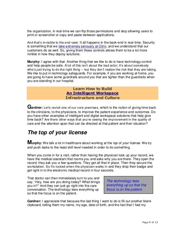 Page 9 of 13 the organization, in real-time we can flip those permissions and stop allowing users to print or screenshot o...