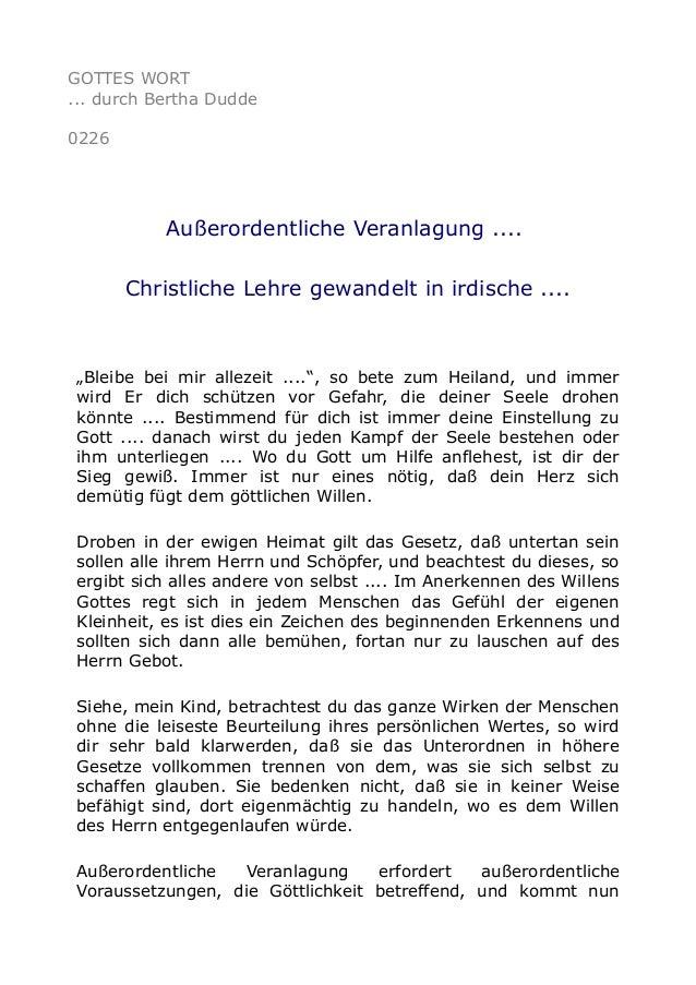 """GOTTES WORT ... durch Bertha Dudde 0226 Außerordentliche Veranlagung .... Christliche Lehre gewandelt in irdische .... """"Bl..."""